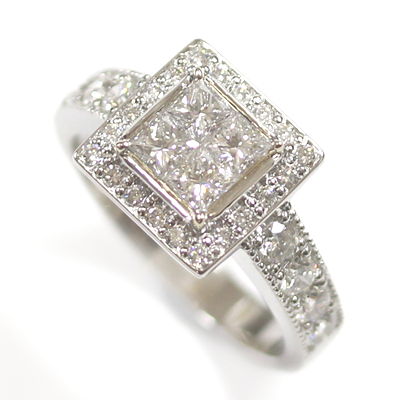 Platinum Princess Cut Diamond Cluster Engagement Ring 5.jpg