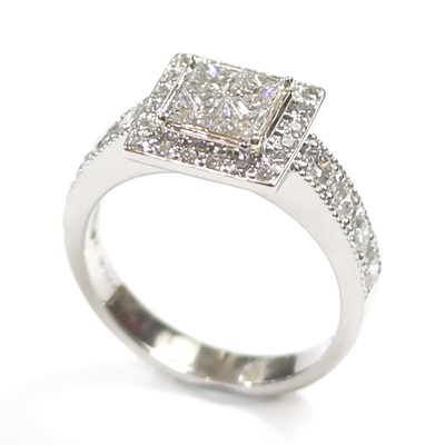 Platinum Princess Cut Diamond Cluster Engagement Ring 6.jpg