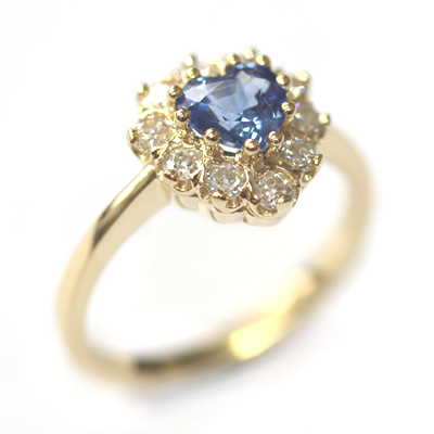 18ct Yellow Gold Heart Shape Sapphire and Diamond Engagement Ring 3.jpg