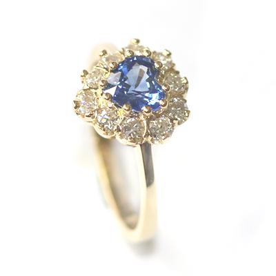 18ct Yellow Gold Heart Shape Sapphire and Diamond Engagement Ring 5.jpg