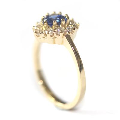 18ct Yellow Gold Heart Shape Sapphire and Diamond Engagement Ring 4.jpg