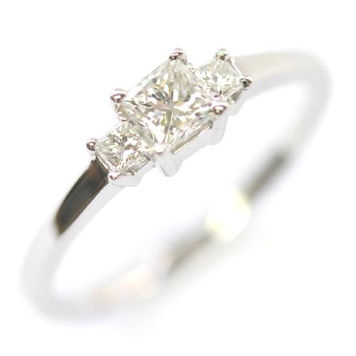 Platinum Princess Cut Diamond Trilogy Engagement Ring.jpg