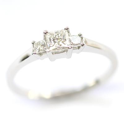 Platinum Princess Cut Diamond Trilogy Engagement Ring 2.jpg