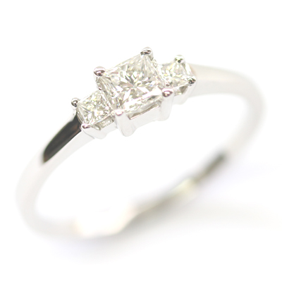 Platinum Princess Cut Diamond Trilogy Engagement Ring 3.jpg