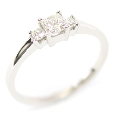 Platinum Princess Cut Diamond Trilogy Engagement Ring 5.jpg