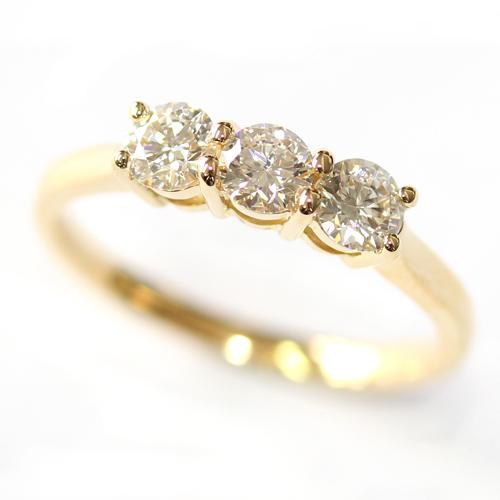 Yellow Gold Round Brilliant Cut Diamond Trilogy Engagement Ring.jpg
