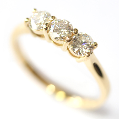 Yellow Gold Round Brilliant Cut Diamond Trilogy Engagement Ring 2.jpg