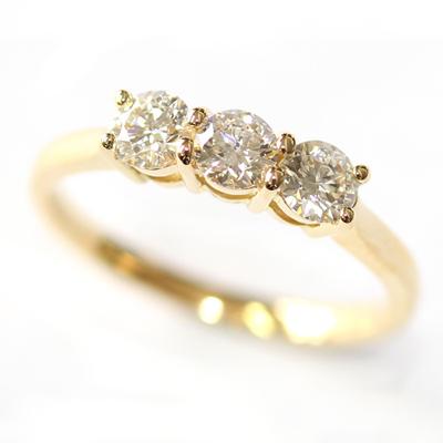 Yellow Gold Round Brilliant Cut Diamond Trilogy Engagement Ring 1.jpg
