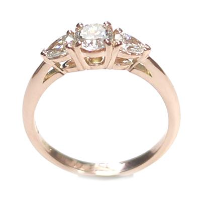 14ct Rose Gold Diamond Trilogy Engagement Ring 5.jpg