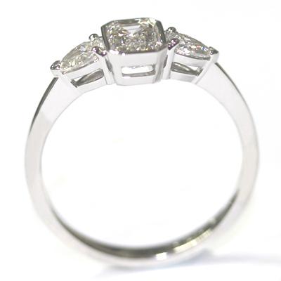 Platinum Pear and Emerald Cut Diamond Trilogy Engagement Ring 5.jpg