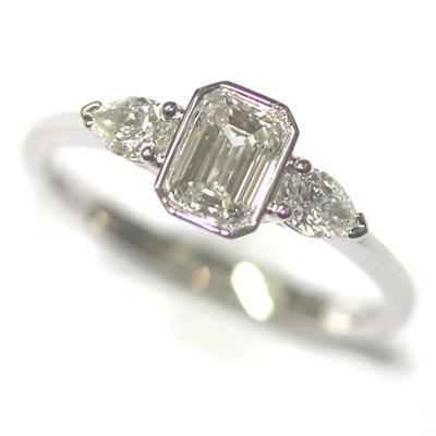 Platinum Pear and Emerald Cut Diamond Trilogy Engagement Ring 1.jpg