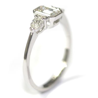 Platinum Pear and Emerald Cut Diamond Trilogy Engagement Ring 6.jpg
