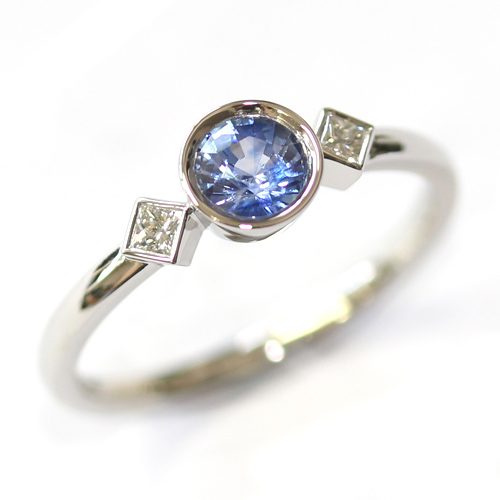 Platinum Art Deco Sapphire and Diamond Trilogy Engagement Ring.jpg