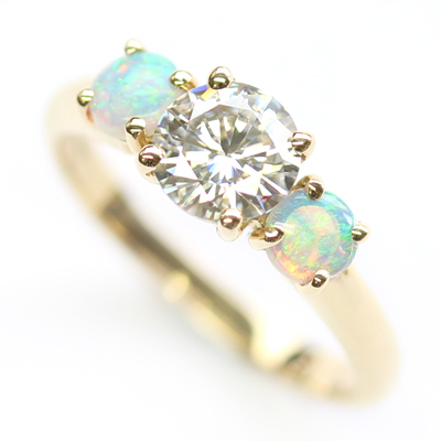 18ct Yellow Gold Moissanite and Opal Trilogy Engagement Ring 2.jpg
