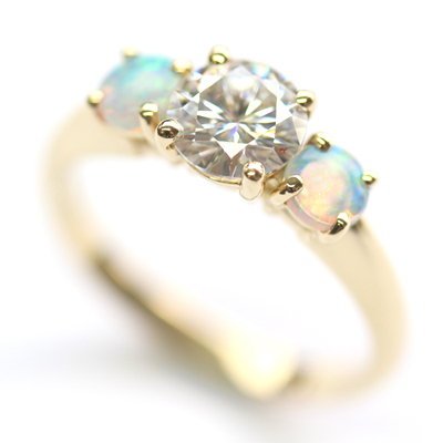 18ct Yellow Gold Moissanite and Opal Trilogy Engagement Ring 4.jpg