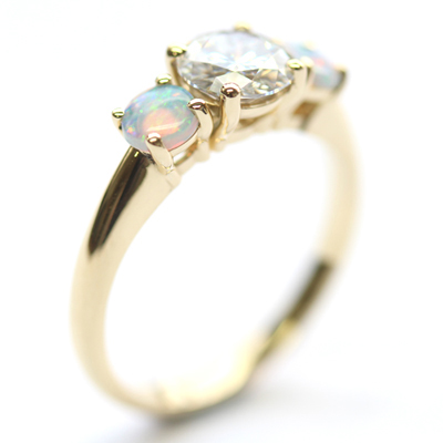 18ct Yellow Gold Moissanite and Opal Trilogy Engagement Ring 5.jpg