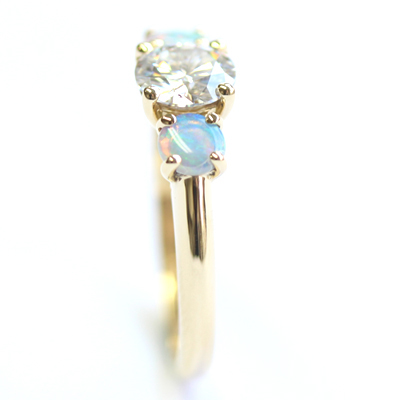 18ct Yellow Gold Moissanite and Opal Trilogy Engagement Ring 6.jpg
