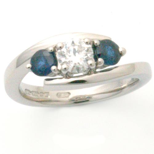 Palladium Trilogy Sapphire & Diamond Elipse Engagement Ring.jpg