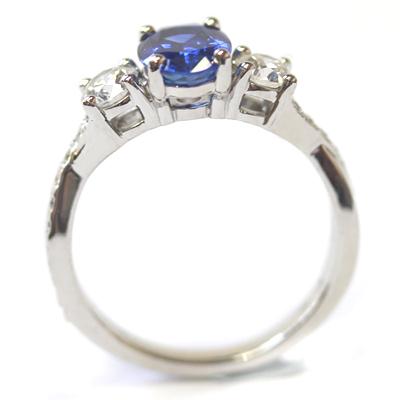 Platinum Blue Sapphire and Diamond Trilogy Engagement Ring 5.jpg