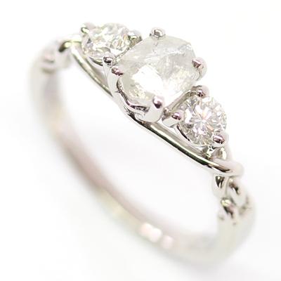 Platinum Uncut Diamond Trilogy Engagement Ring 2.jpg
