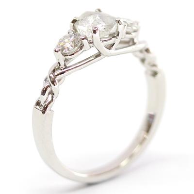 Platinum Uncut Diamond Trilogy Engagement Ring 1.jpg