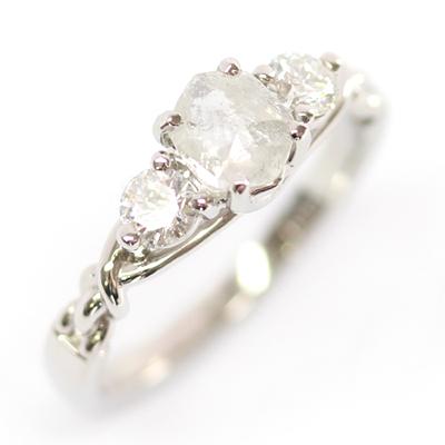 Platinum Uncut Diamond Trilogy Engagement Ring 3.jpg