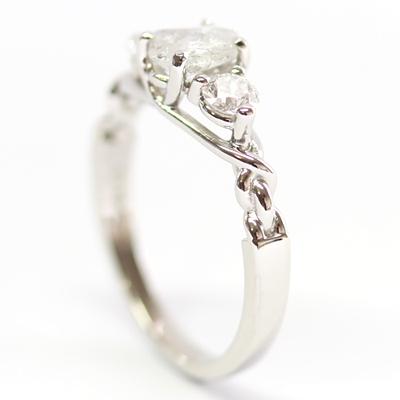 Platinum Uncut Diamond Trilogy Engagement Ring 4.jpg