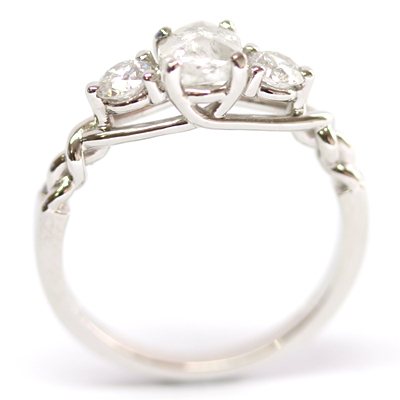 Platinum Uncut Diamond Trilogy Engagement Ring 5.jpg