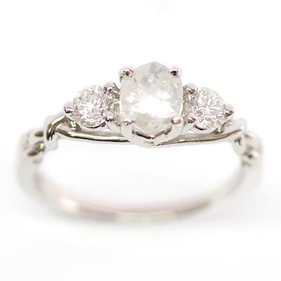 Platinum Uncut Diamond Trilogy Engagement Ring 6.jpg