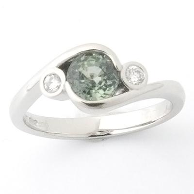 Platinum Green Sapphire and Diamond Engagement Ring 3.jpg