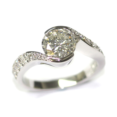 Platinum Twist Engagement Ring using the Customers Diamonds 2.jpg