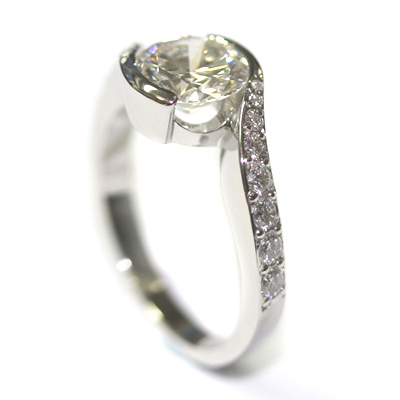 Platinum Twist Engagement Ring using the Customers Diamonds 4.jpg