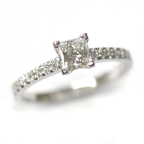 Platinum Princess Cut Diamond Engagement Ring with Part Diamond Set Shoulders.jpg