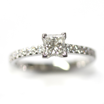 Platinum Princess Cut Diamond Engagement Ring with Part Diamond Set Shoulders 2 - Copy.jpg
