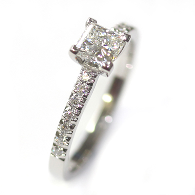 Platinum Princess Cut Diamond Engagement Ring with Part Diamond Set Shoulders 4 - Copy.jpg