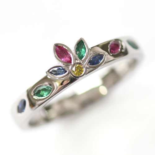 Platinum Emerald, Sapphire and Diamond Engagement Ring.jpg