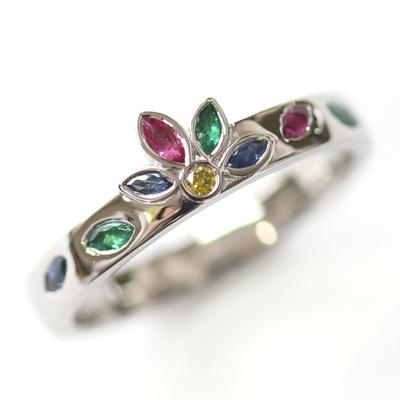 Platinum Emerald, Sapphire and Diamond Engagement Ring 1.jpg