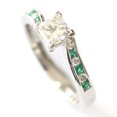 Platinum Princess Cut Diamond and Emerald Engagement Ring 1.jpg