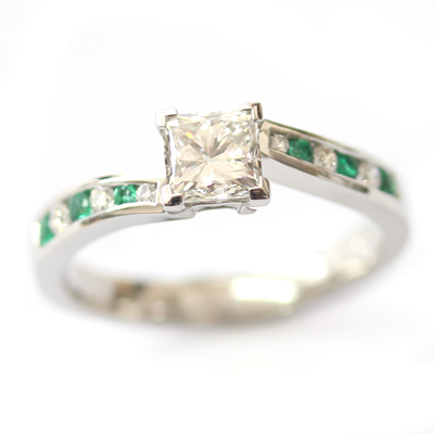 Platinum Princess Cut Diamond and Emerald Engagement Ring 2.jpg