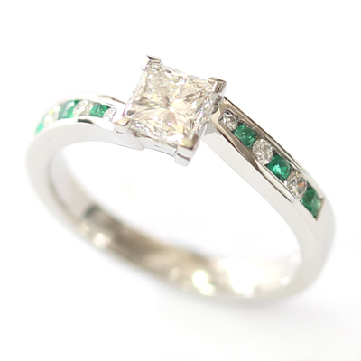 Platinum Princess Cut Diamond and Emerald Engagement Ring 3.jpg