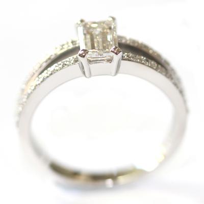 Emerald Cut Diamond Engagement Ring with Split Diamond Set Shoulders 3.jpg