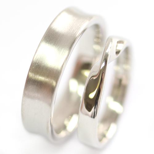 Platinum Satin Finish and Twist Wedding Ring Set.jpg