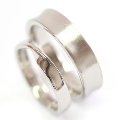 Platinum Satin Finish and Twist Wedding Ring Set 4.jpg