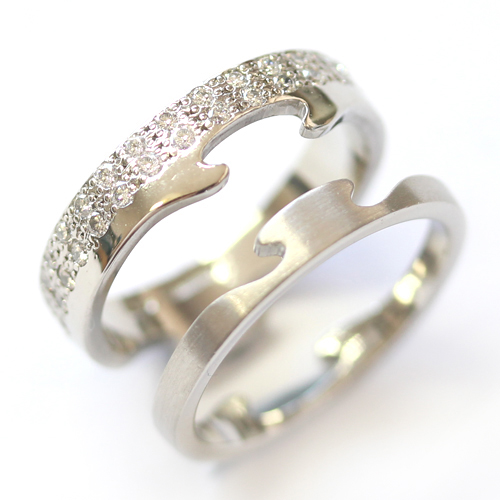 Platinum Jigsaw Diamond Set Engagement and Fitted Wedding Ring 6 - Copy.jpg