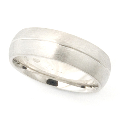 Platinum Wedding Ring with Diamond Cut Line and Brushed Finish 1.jpg