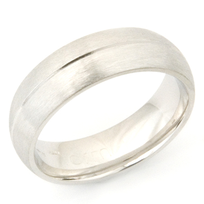 Platinum Wedding Ring with Diamond Cut Line and Brushed Finish 3.jpg