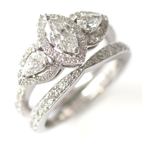 18ct White Gold Diamond Fitted Wedding Ring to Trilogy Halo Engagement Ring.jpg