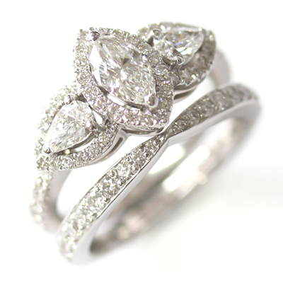 18ct White Gold Diamond Fitted Wedding Ring to Trilogy Halo Engagement Ring 1.jpg