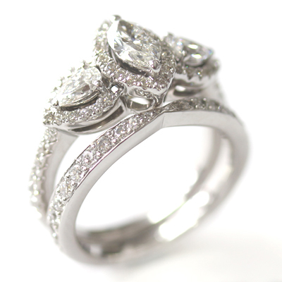 18ct White Gold Diamond Fitted Wedding Ring to Trilogy Halo Engagement Ring 3.jpg