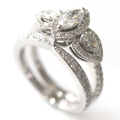 18ct White Gold Diamond Fitted Wedding Ring to Trilogy Halo Engagement Ring 4.jpg